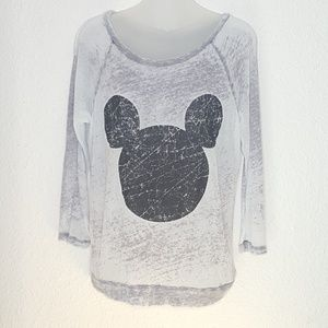 Disney Mickey Burnout 3/4 Sleeve Tshirt Sz XL Gray